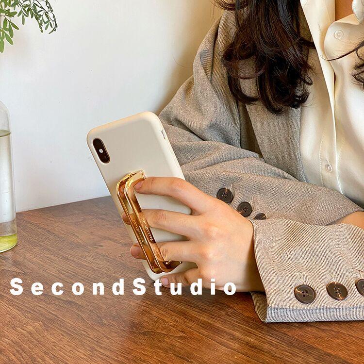 スクエアバックル金属iPhone 12 miniケーススタンド機能